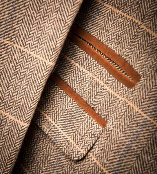 Marc Darcy DX7 Tweed Herringbone Check Suit Jacket - Tan - Master Debonair - 6