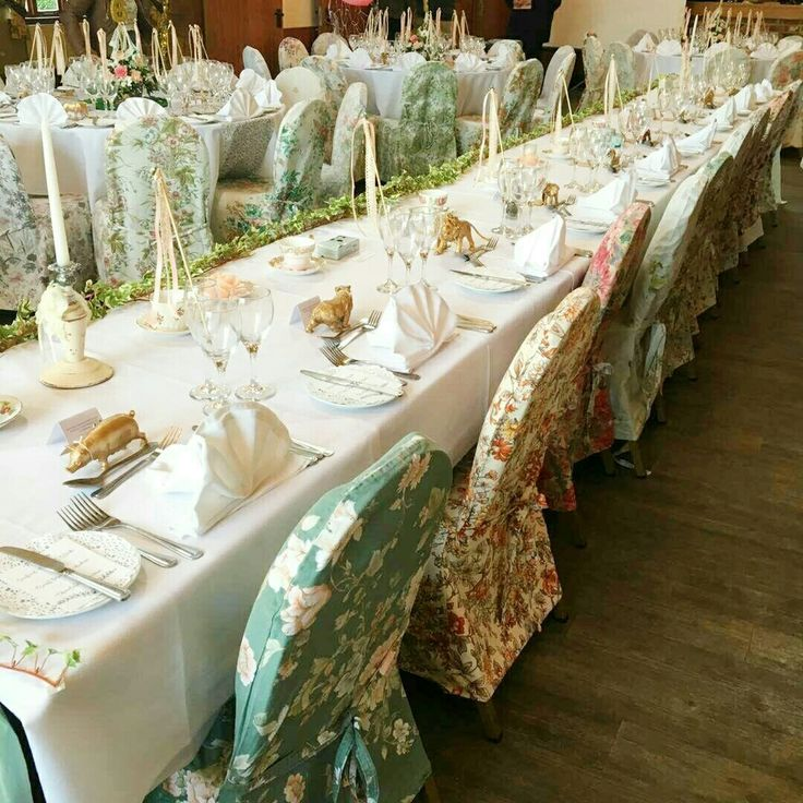 Photos of our vintage floral chair covers in action, at a vintage wedding Sent to us by one of our lovely couples.  Vintage floral chair cover hire www.bettylovesvintage.co.uk