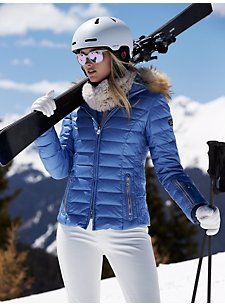 BOGNER Women Designer Ski Wear | Blue 'Kelly-dp' Jacket with Fur trim