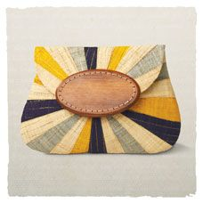 ray of light clutch - wood and bright raffia from Madagascar