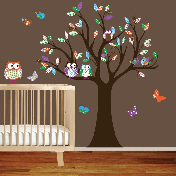 """dimension: 74""""H x 55""""W  when applied as shown    What's included in this decal set?    >big tree with flower and polka dot pattern leaves  > 6 Birds  > 4 Owls  > 4 Butterflies    This tree set was designed to go with the pottery barn girls set'Brooke',but can be made in any colors you would like."""