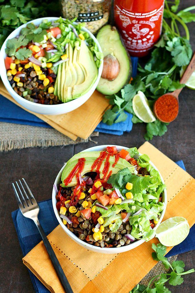 The Big Southwest Lentil Salad Bowl via ilovevegan.com #vegan #glutenfree #nutfree #soyfree