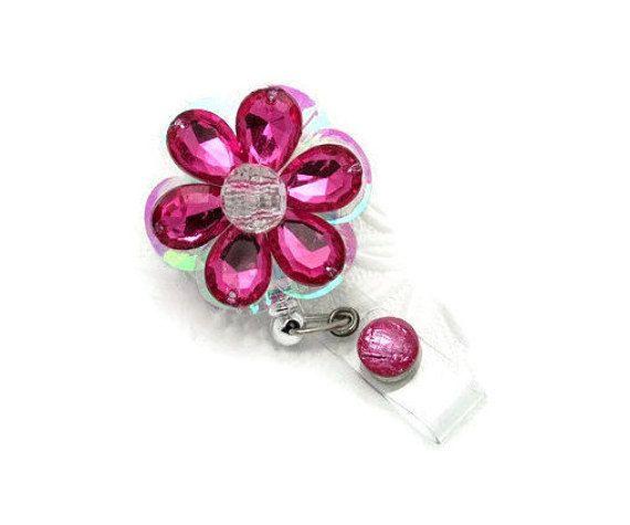 Blingin' Blooms Badge Reels - Bling Badge Clips - Designer Badge Reels - Fun ID Holders - Cool Badge Reels - Fancy ID Holders - Cute Id Pull