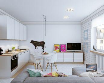 Скандинавский дизайн интерьера маленькой квартиры-студии 24 кв. м.