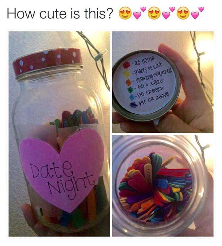 Color coded date night sticks. Red- At Home, Yellow- Places to Eat, Orange- Planning required, Green- Out and About, Blue- Under $40, Purple- Above $40 Cute Idea for some love birds!
