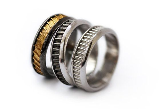 Wedding band set man wedding ring-His Fine Silver by CADIjewelry