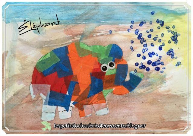 ELEPHANT Eléphant en papier de soie Fond : peinture à l'eau essuyée au papier essuie tout.