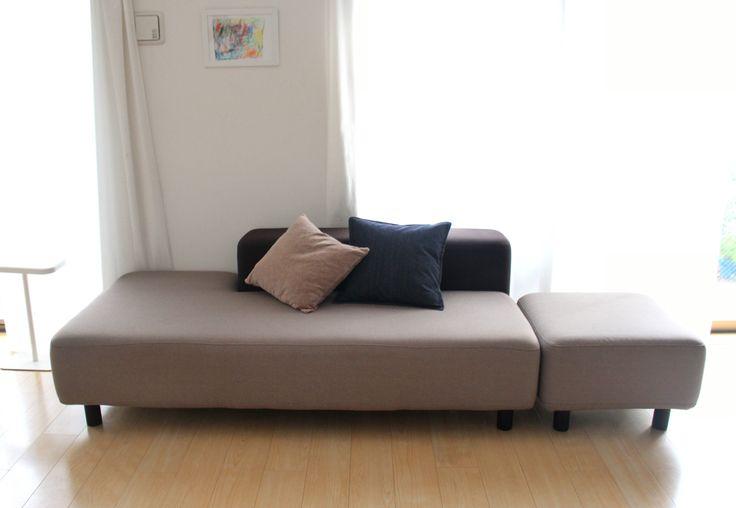 無印のソファベンチ完成!!リビングのBefore→After☆ : 良品生活 こうすると、主人も寝転べる長さに! ソファというよりベッド ...