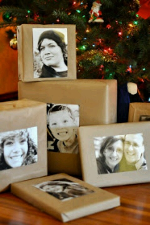Brown bag wrapped Christmas presents with black and white photos
