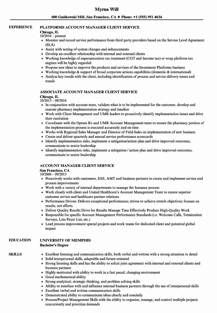 Client services manager resume new manager client services