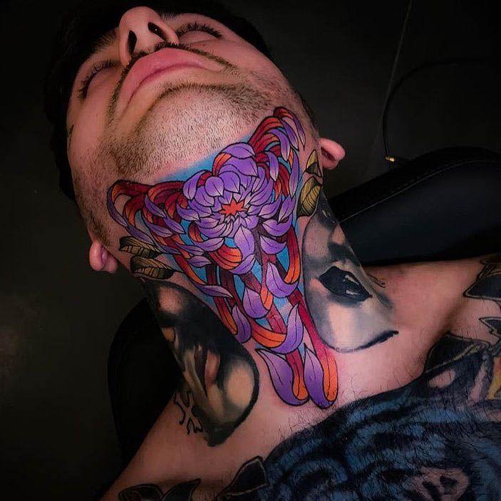 neck tattoo peony flower