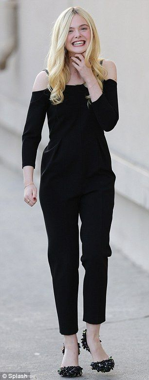 Effortlessly elegant: The teenager later slipped into a chic black jumpsuit to make an appearance on Jimmy Kimmel Live