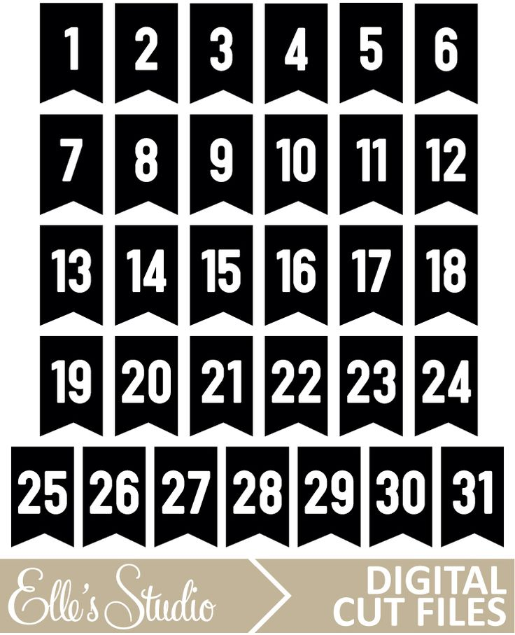Number Pennants Digital Cut File by Elle's Studio perfect for December Daily!