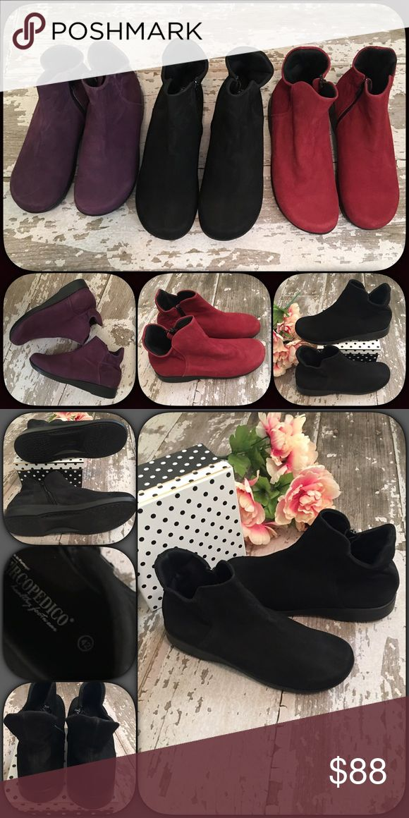 🎉New Listing🎉 ❤Arcopedico Suede Ankle Boots ❤ Arcopedico Suede Ankle Boots (I believe these are the L Line style but not positive). Very comfy and stylish, you will love them! New without box. May be very minimal scuffs, as they were on display in store. If you need any additional info or pics please let me know. Bundle & Save More!💕 Red size 9 / Black size 10.5 & Purple 6.5 ⭐️ arcopedico Shoes Ankle Boots & Booties