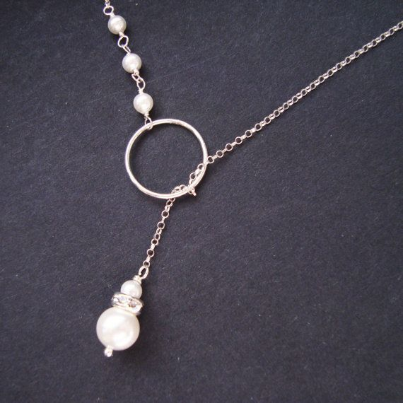 Sterling Silver and Pearl Lariat Necklace Bridesmaid by luxedeluxe, $36.00
