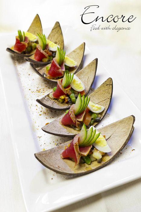 Niçoise salad on a coconut shell <3 themarriedapp.com hearted <3
