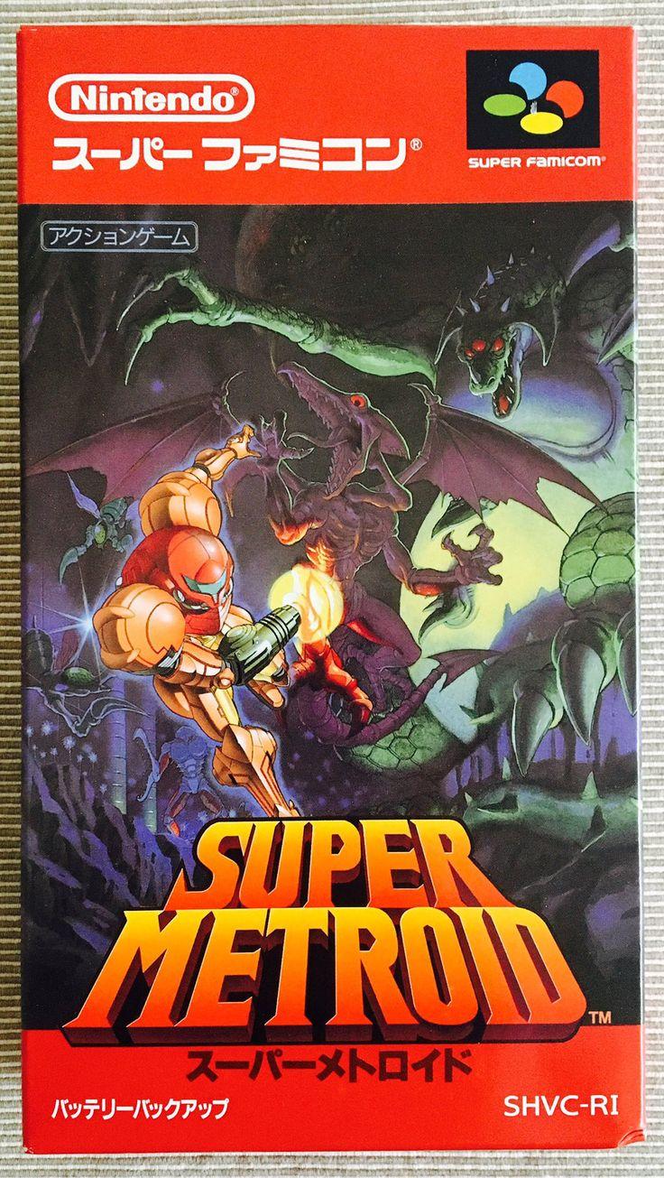 Super Metroid (Super Nintendo, Japanese box art + comic from Nintendo Power. Kirby Nintendo, Nintendo 2ds, Super Nintendo Games, Metroid Samus, Samus Aran, Metroid Prime, Classic Video Games, Retro Video Games, Video Game Art