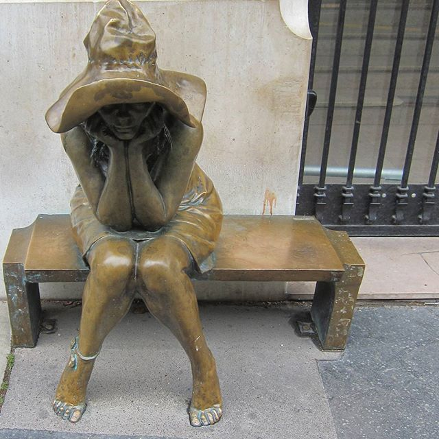A letter to Paris: Dear Paris, like this statue (on 92 rue Bonaparte), you must feel so alone, downtrodden, sad and weary.  We feel your pain, taste your tears and hear your cries. Today we want you to know that we will sit with you on that bench, hold your hand, listen to your woes and support you in your grief.  #prayforparis