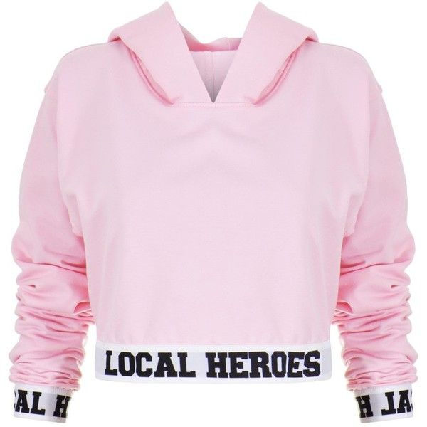 Local Heroes LH Cropped Hoodie ($79) ❤ liked on Polyvore featuring tops, hoodies, pink hoodies, cropped hoodies, hoodie top, cut-out crop tops and pink top