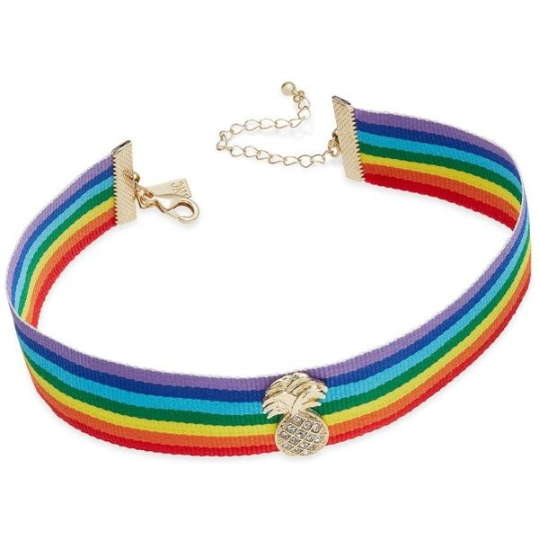 Inc International Concepts Gold-Tone Rainbow Ribbon Pineapple Choker... found on Polyvore featuring jewelry, necklaces, accessories, rainbow, multi color necklace, pineapple jewelry, gold tone necklace, multi colored necklace and rainbow necklace