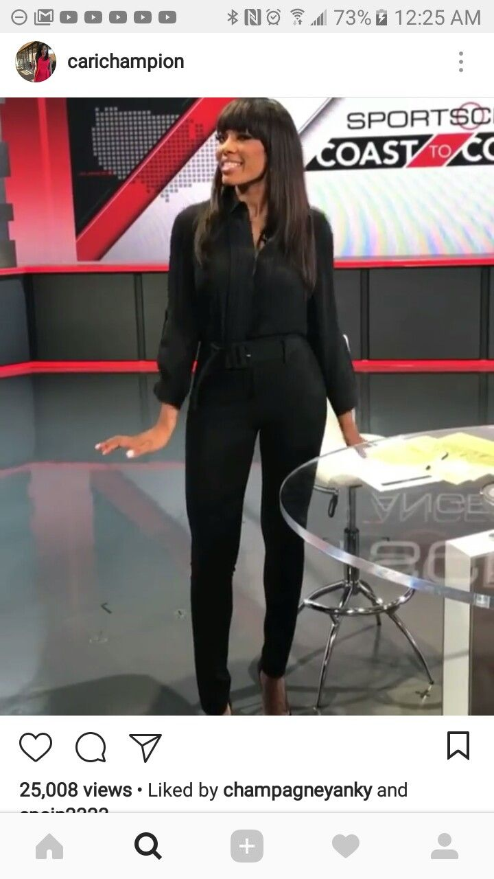 Hot Cari Champion In Black Shirt and Black Jeans