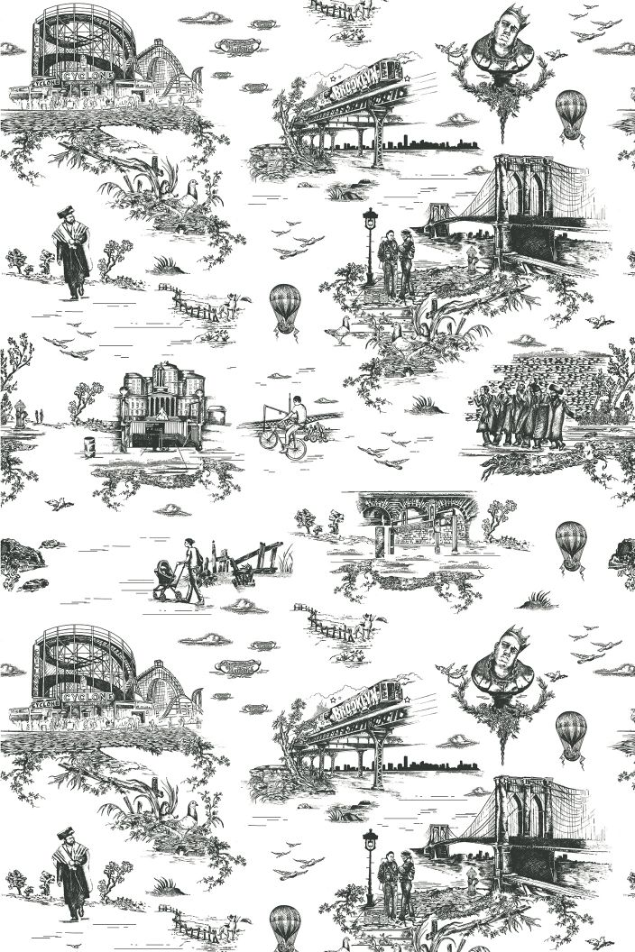 brooklyn toile Designed by Mike Diamond & Vincent J. Ficarra/Adela Qersaqi of Revolver New York