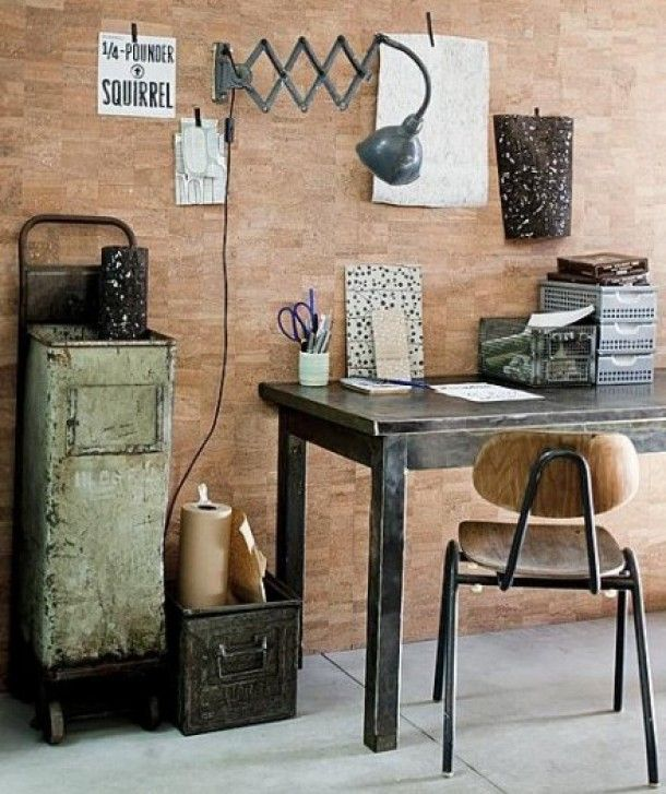 #interior #styling #decor #workplace #office #industrial #wall #cork #lamp #vintage #container
