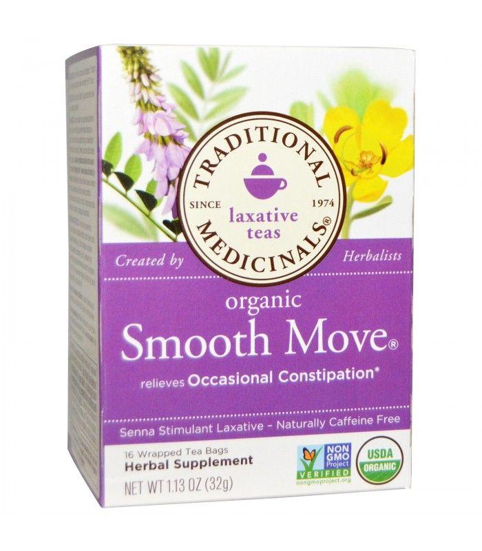 ★★★★★ | 16 Wrapped Tea Bags, 1.13 oz (32 g) of Traditional Medicinals Organic Smooth Move Tea Senna Stimulant Laxative Caffeine…