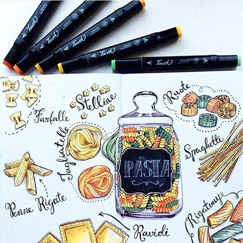 Ravioli? Farfalle? Tagliatelle? All of them! <3  #sketch #sketchbook #Leuchtturm1917es #pasta #cooking #drawing