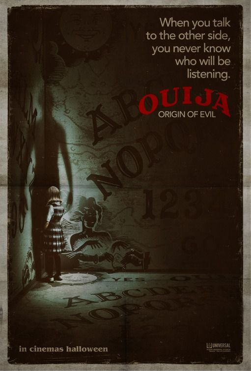 """Ouija: Origin of Evil (2016) Alternate title: Ouija 2 tagline: """"When you talk to the other side, you never know who will be listening."""" directed by: Mike Flanagan starring: Henry Thomas, Elizabeth Reaser, Annalise Basso, Alexis G. Zall"""