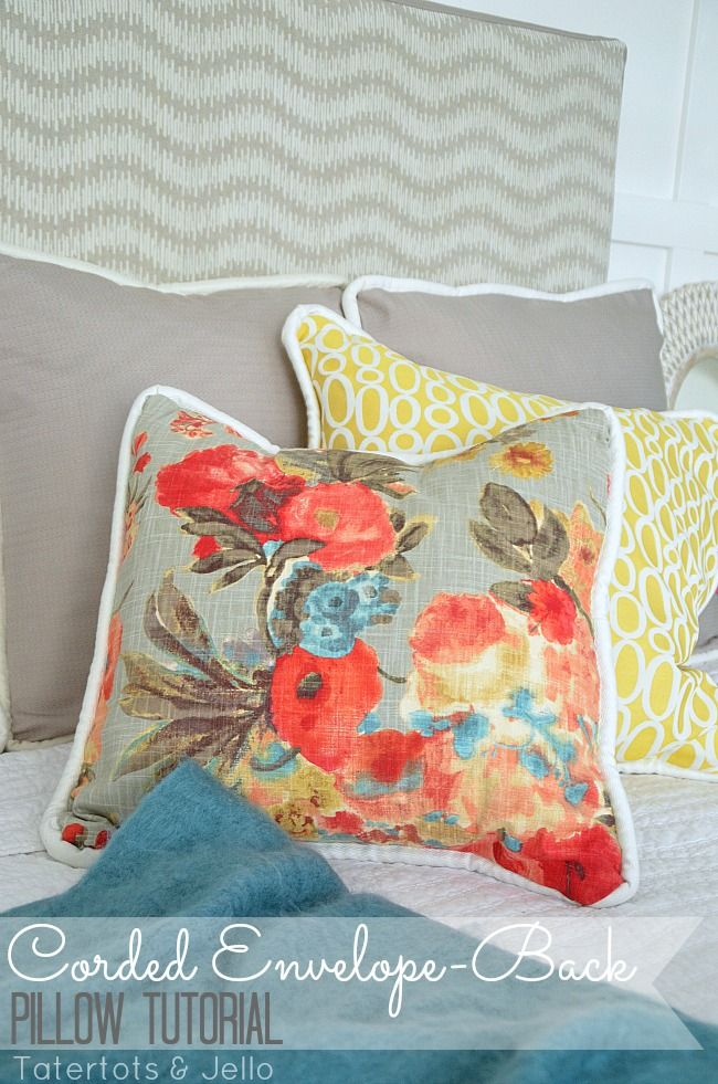 Here's a closeup of the corded envelope back pillows -- they're easy to sew! (I shared the tutorial.) #HGTVHomeMagic #DIY tatertotsandjello.com