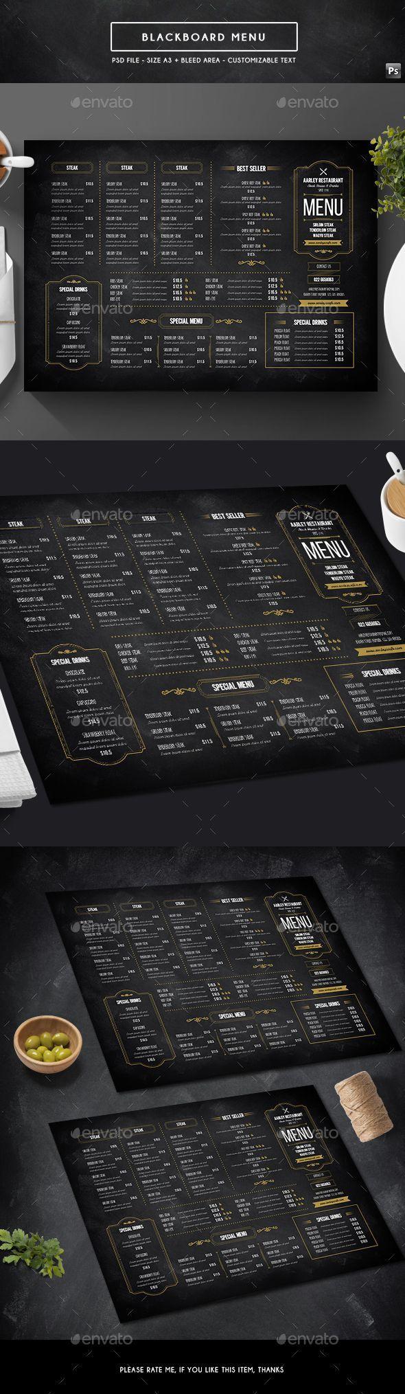 Blackboard Menu - Food Menus Print Templates Download here : https://graphicriver.net/item/blackboard-menu/19243486?s_rank=91&ref=Al-fatih