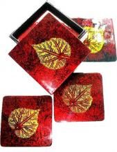 """Gold Leaf on Red Coaster Set :: Asian Cups and Bowls """"#wedding #invitations  #dinnerware #weddinglist #glassware #party #kitchenware #stylish #beautifull #china,#gifts,#favors,#luxery, #porcelaindinnerware, #party,#cristal,#like4like, #ornaments #favors, #chic #engagement,#barware #wedgewood,#linkinprofile"""""""