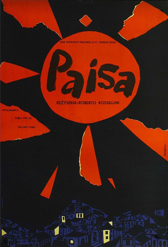 1957 Polish poster for PAISAN (Roberto Rossellini, Italy, 1946) Designer: Teresa Byszewska