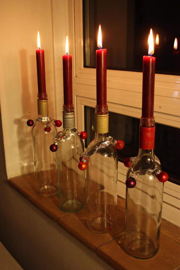 25 best wine bottles images on pinterest wine bottle for Wine bottle candle holder craft