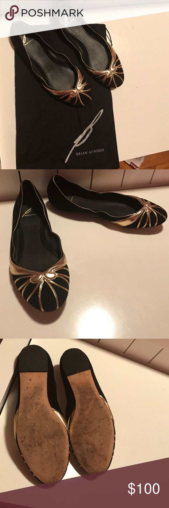 B Brian Atwood Black Velvet and Gold Flats B Brian Atwood Black Velvet and Gold Flats - gently worn, size 8 B Brian Atwood Shoes Flats & Loafers