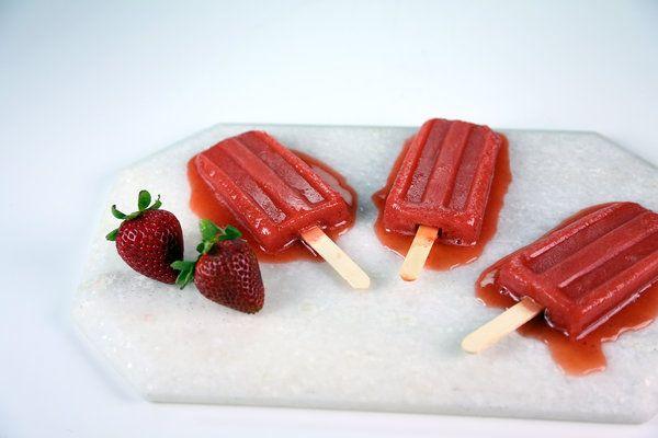 Watermelon Strawberry Ice Pops Recipe by Carla Hall   Desserts ...