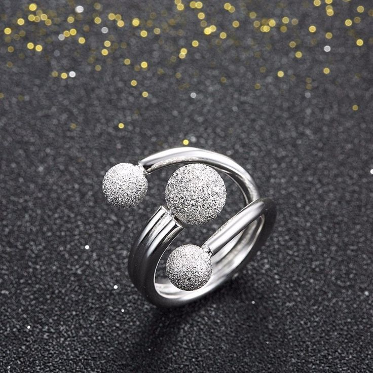 Surround Design Ball Adjustable Ring Solid 925 Sterling Silver