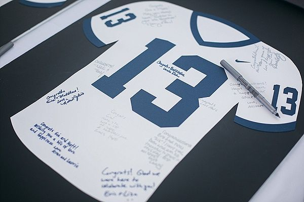 Unique idea for wedding guest book -@MandyPyt @angelaeax3 @calibuddx3 I REALLY Like this idea, it's not a real jersey though which is good, cause the writing wont bleed thru.