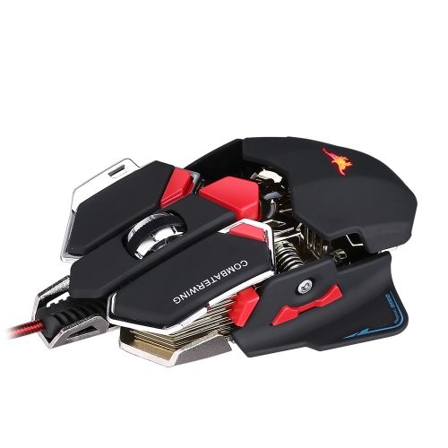 Combaterwing 4800 DPI Optical USB Wired Professional Esport Gaming Mouse Programmable 10 Buttons RGB Breathing LED Mice