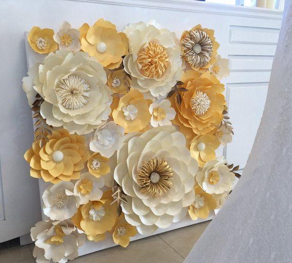 white and gold paper flower wall  backdrop