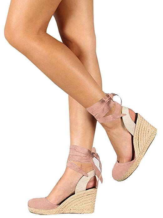 70dd6921584 Ermonn Womens Platform Wedge Sandals Closed Toe Lace up Ankle Strap ...