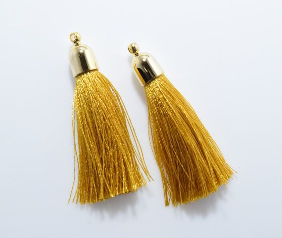 Gold Bell Shaped Cotton Tassel (Large) Pendant, Jewelry Craft Supply, Polished Gold - 2pcs / RG0039-PGGD