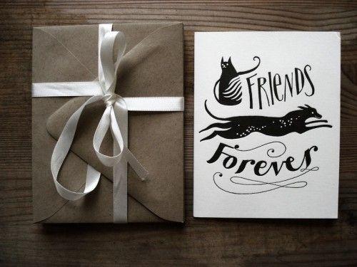 Great Illustration and Hand Lettering by Karolin Schnoor: Karolinschnoor, Letterpresses Cards, Friends Forever, Letterpresses Greeting, Karolin Schnoor, Greeting Cards, Etsy Finding, Congratulations Greeting, Congratulations Cards