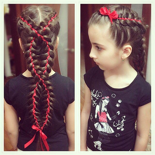 Косы, плетение кос, прически для девочек, косы с лентами, braids, braids for girls, hair, hair style