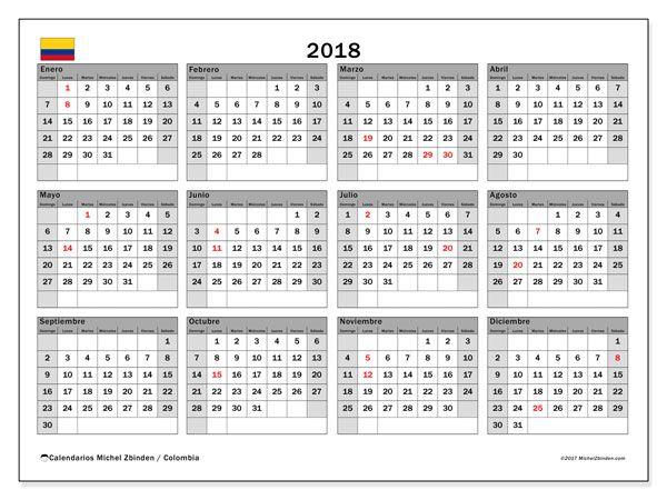 Calendario para imprimir gratis 2018, con los días festivos en Colombia. Calendario anual
