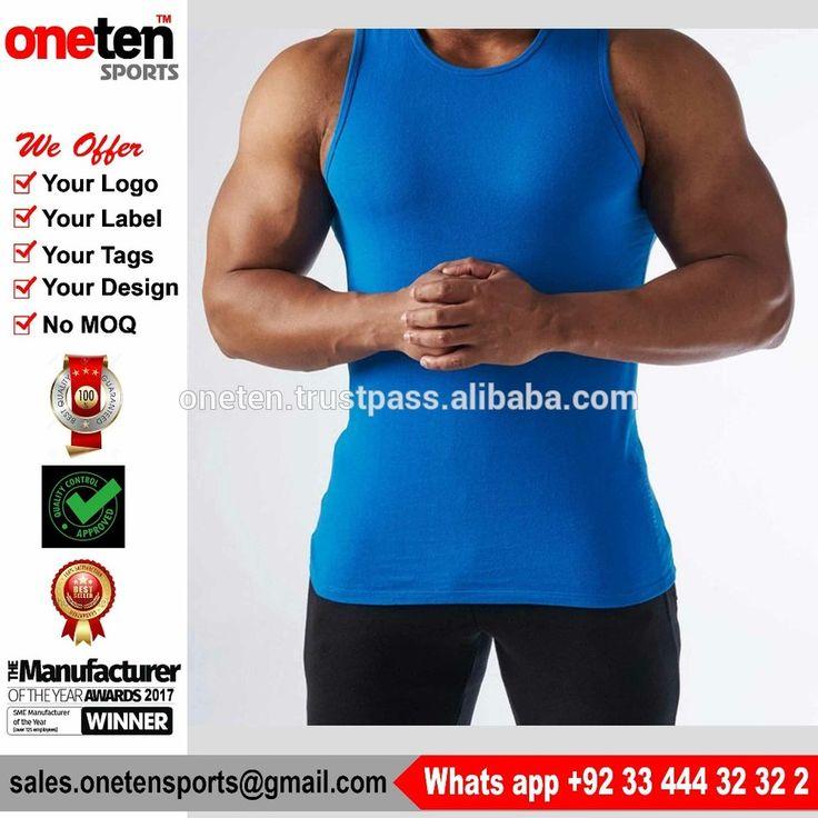 2017 Custom 100% cotton wholesale men fitness plain gym tank tops singlets stringer - Men Gym Wear