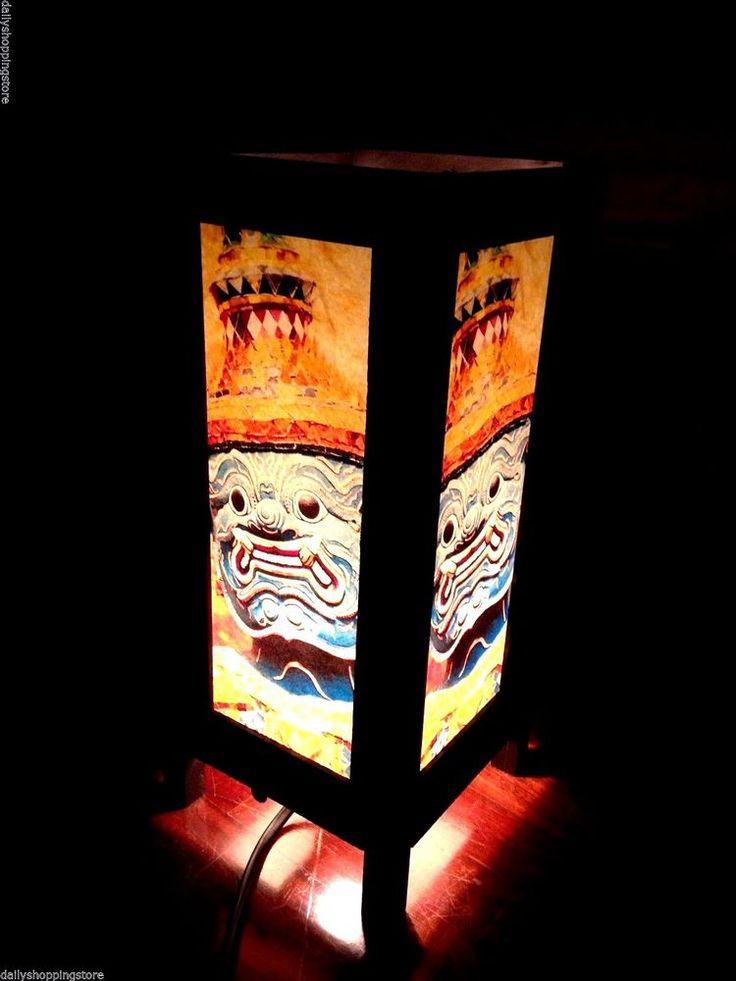 Table Desk Lamp Asian Oriental Thai Paper Art Lantern Ramayana Giant Handmade | eBay