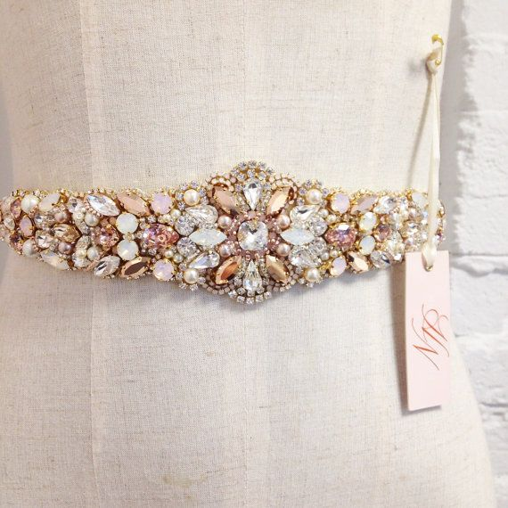 Oro rosa y Blush nupciales cristalinos por HelenaNoelleCouture