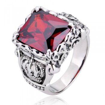 925 Sterling Silver Crown Design Gemstone Ring Gift For Men